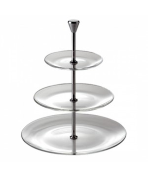 3 TIERS ROUND RACKS IN CLEAR GLASS